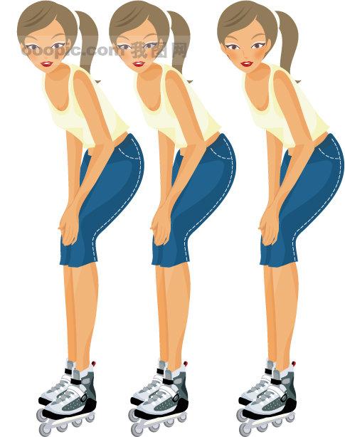矢量运动素材 矢量女孩 可爱女孩 运动 健身 瘦身