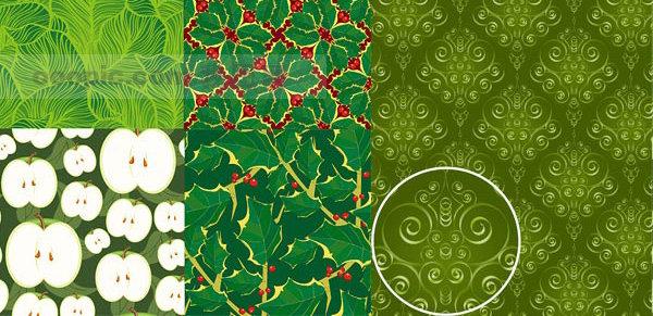 背景 素材 花纹/5款绿色植物花纹平铺背景矢量素材