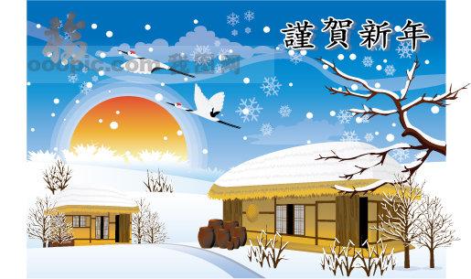 郊外矢量素材 矢量冬天 矢量风景 .