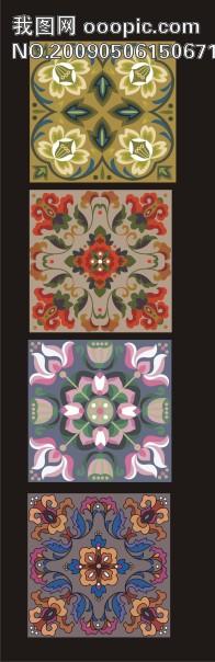 古典正方形花纹