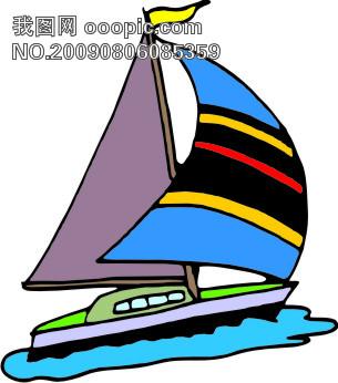 水上交通工具-帆船14_交通工具矢量图