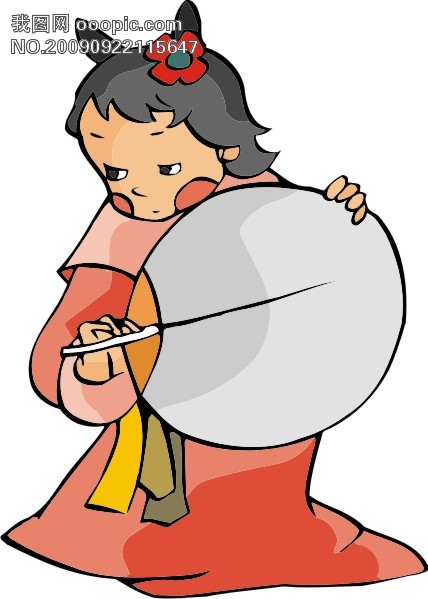 古代人物漫画41_妇女女性矢量图