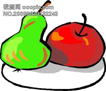 水果矢量素材图片下载 水果矢量素材 水果 果盘 李子 梨子 苹果 矢量