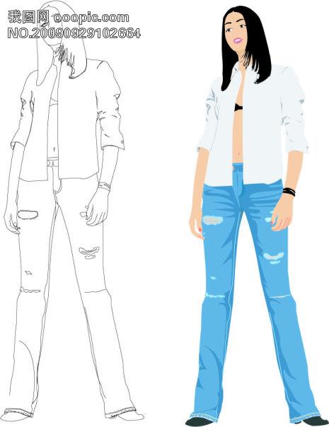 服装设计裤子结构制图及放缝图