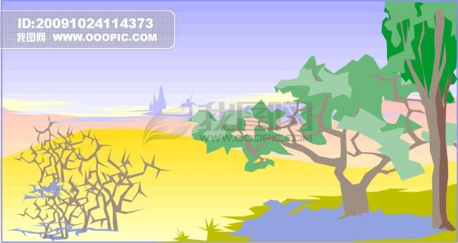 沙漠绿洲_自然风景矢量图