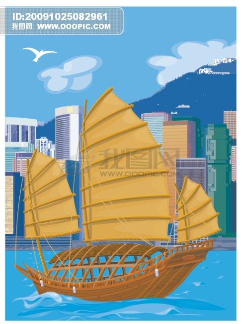 白云帆船简笔画可爱