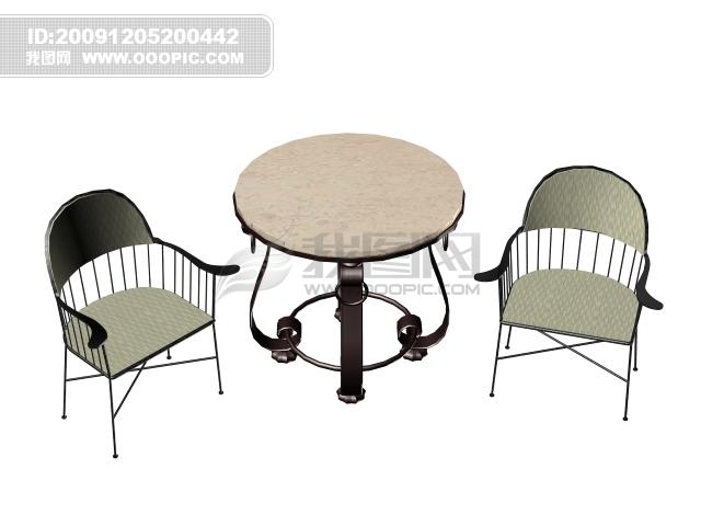 3d欧式椅子圆茶几