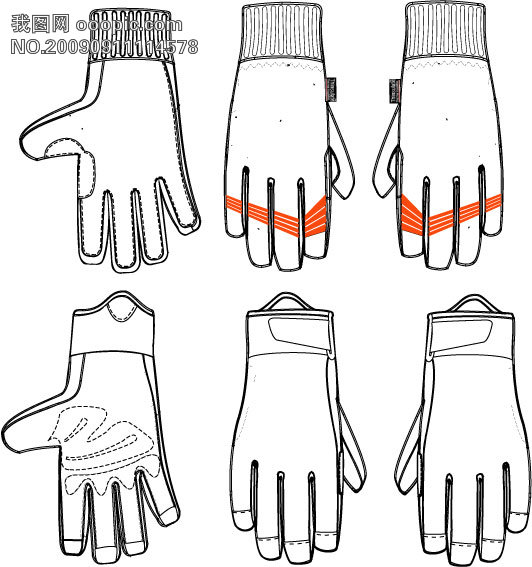 手套手绘卡通图