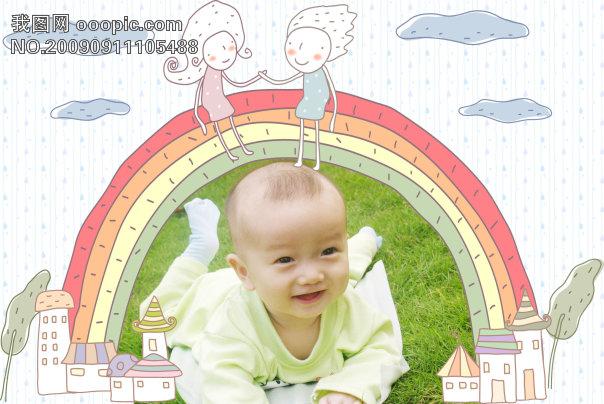 儿童模板 > 可爱手绘相框模版   可爱 手绘风格 线条 情侣 彩虹 卡通