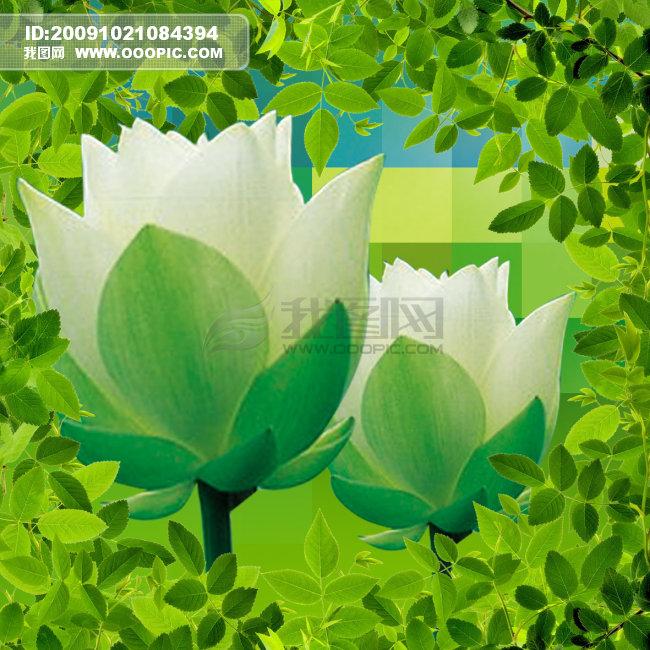 绿色花朵_半成品设计模板_设计模板_微利设计图片