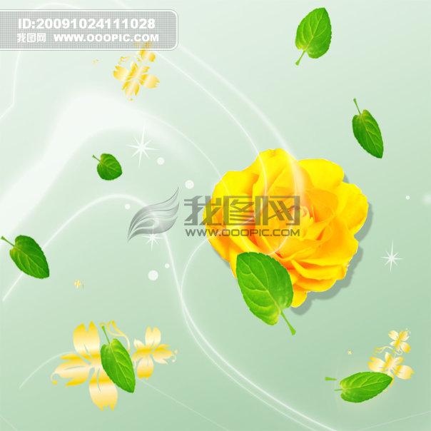 金色花朵_半成品设计模板_设计模板_微利设计图片
