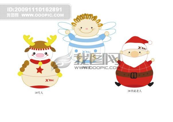 可爱的圣诞鹿圣诞雪人圣诞老人