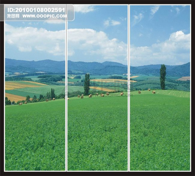 玻璃移门矢量素材 玻璃移门山景 移动门绿草地 移动门野外风景 移动门