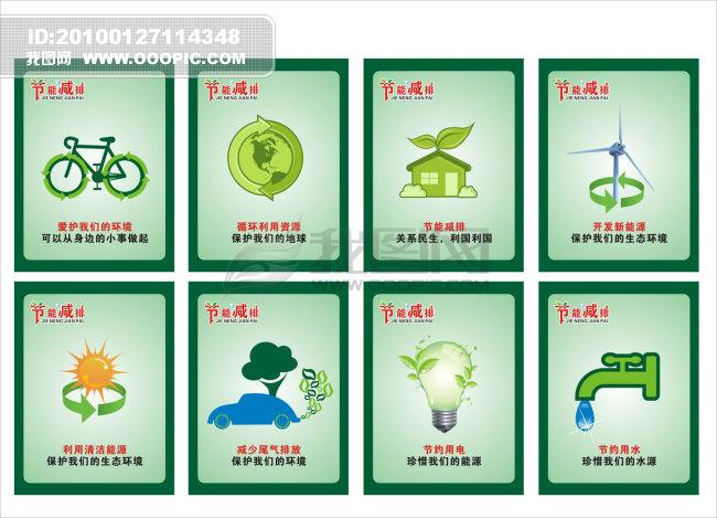地球 灯泡 风车 汽车 自行车 绿叶 环保海报 节能海报 节约 节约能源