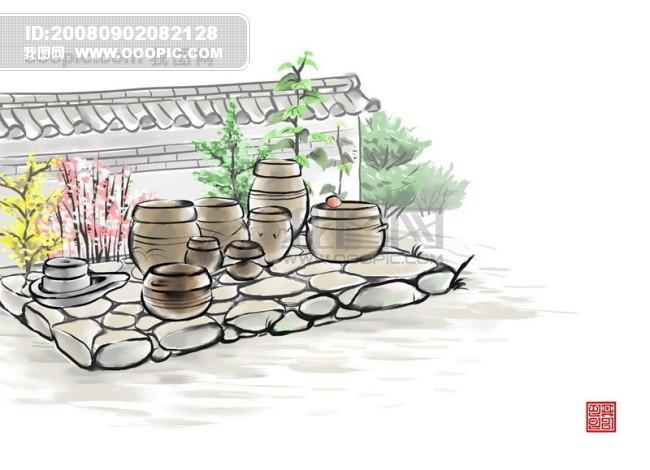 背景 韩国/HanMaker韩国设计素材库 背景 水墨绘画风格坛子 墙壁