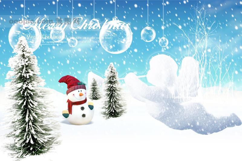圣诞 雪地 雪人 圣诞树 气泡 psd分层素材 源文件库 72dpi psd