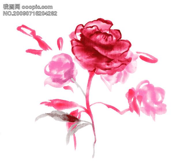 水彩效果玫瑰花psd分层素材