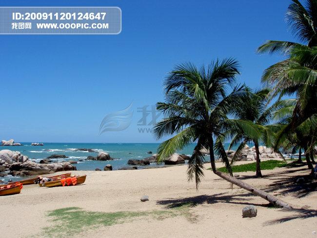 海天一色桌面图片图片下载 大海 沙滩 椰子树 小岛 蓝天