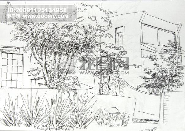 建筑树立面手绘