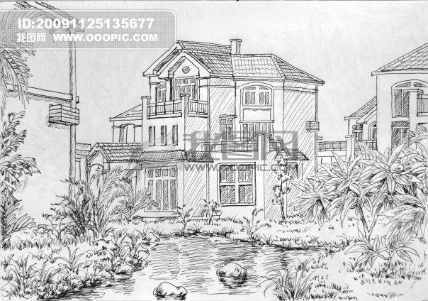 别墅景观手绘效果图线稿